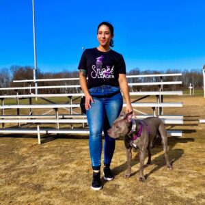 Erika Gonzalez dog trainer with her american pit bull terrier mix